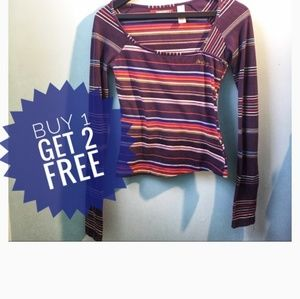 Miss60 Striped Square Neck Long sleeve Tee, M